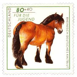 Briefmarke mit Kaltblutpferd